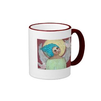 Angel with Doves Ringer Mug