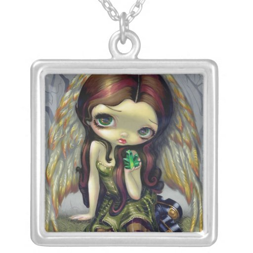 Angel with Emeralds NECKLACE big eyed fairy