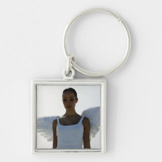Angel with eyes closed keychain