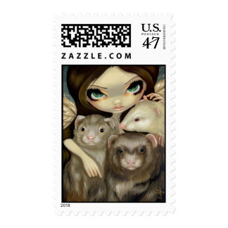"""Angel with Ferrets"" Stamp"