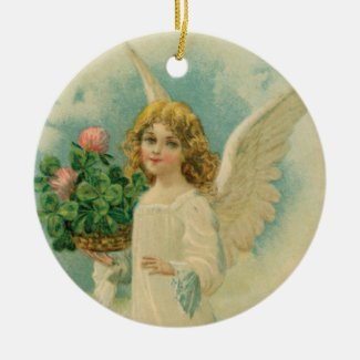Angel With Four Leaf Clover Vintage Style Ornament