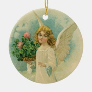 Angel With Four Leaf Clovers Ceramic Art Ornament