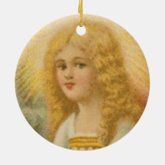 Angel with Gold Halo Keepsake Holiday Ornament