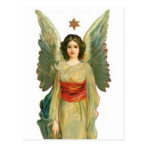 Angel With Gold Star Postcard