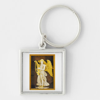 Angel With Golden Harp and Wings Keychain