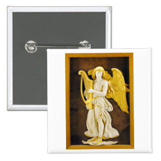 Angel With Golden Harp and Wings Pinback Button