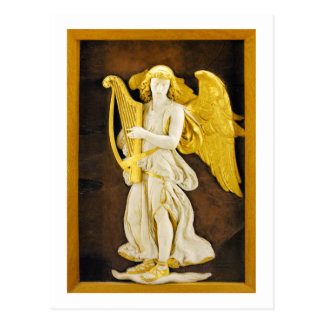 Angel With Golden Harp and Wings Postcard