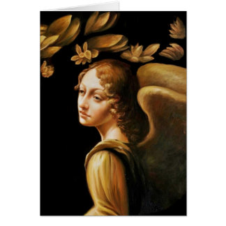 Angel with Golden Leaves Card