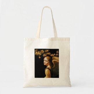 Angel with Golden Leaves Tote Bag