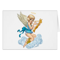 angel, flowers, yellow, gold, blue, blond, halo, wings, cloud, rio, characters, Card with custom graphic design