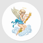 Angel with Halo and Golden Harp by Al Rio Classic Round Sticker