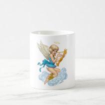 angel, flowers, yellow, gold, blue, blond, halo, wings, cloud, rio, angels, Caneca com design gráfico personalizado