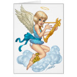 Angel with Halo and Golden Harp by Al Rio Greeting Card