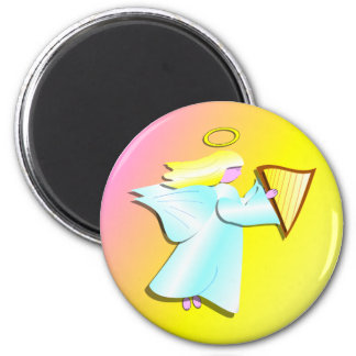 Angel with Harp 2 Inch Round Magnet