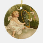 Angel with Harp and Butterflies Christmas Ornaments