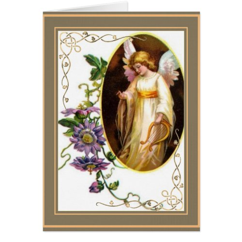 Angel With Golden Harp and Clematis Flowers Semi-Gloss Finish Greeting Card