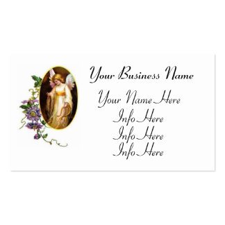 Angel With Harp And Clematis Flowers Business Card