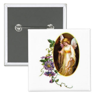 Angel With Harp And Clematis Flowers Button