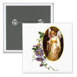 Angel With Harp And Clematis Flowers Buttons