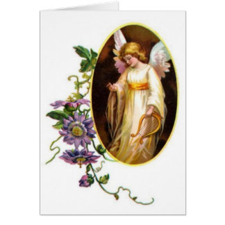 Angel With Harp And Clematis Flowers Greeting Card