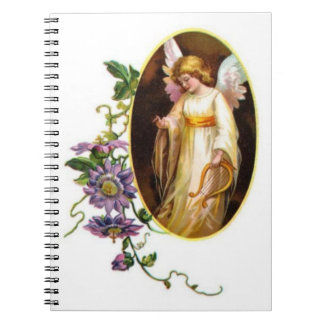 Angel With Harp And Clematis Flowers Notebook