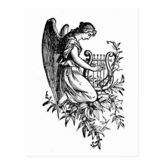 Angel With Harp And Flora Postcards