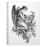Angel With Harp And Flora Spiral Notebooks
