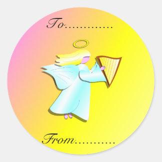Angel with Harp Classic Round Sticker