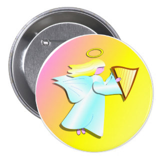 Angel with Harp Pinback Button