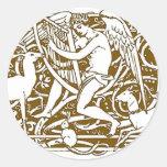 Angel with Harp Round Stickers