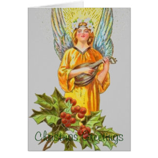 Angel With holly And Mandolin Greeting Card
