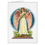 Angel With Lilly Flowers Greeting Card