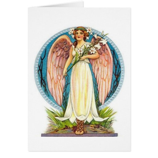 Angel With Lilly Flowers Greeting Cards