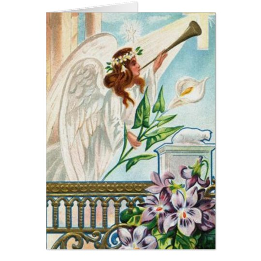 Angel With Lily And Trumpet Card