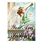 Angel With Lily And Trumpet 13 Cm X 18 Cm Invitation Card