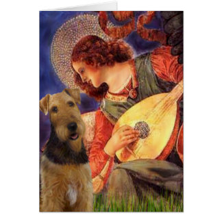 Angel With Mandolin - Airedale Terrier Greeting Card