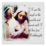 Angel with Michelangelo quote Print