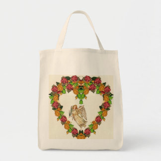 Angel With Palm Leaf And Roses Heart Bags