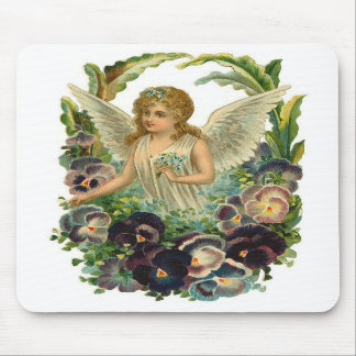 Angel with Pansies Mousepad
