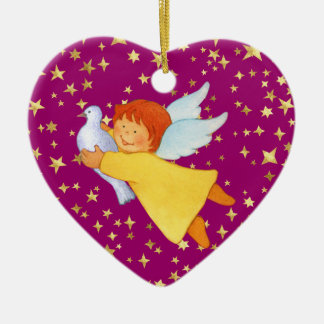 Angel with Peace Dove Ceramic Ornament