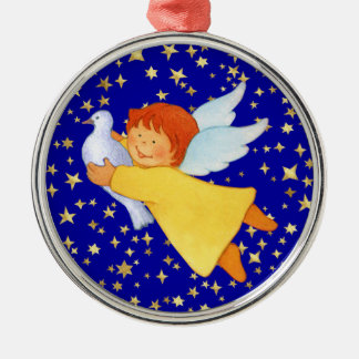 Angel with Peace Dove Metal Ornament