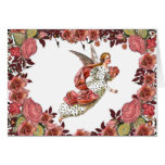 Angel With Pink Ribbon And Roses Card