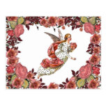 Angel With Pink Ribbon And Roses Postcard