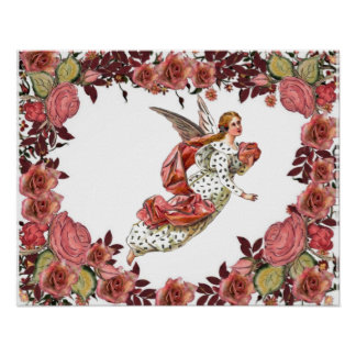 Angel With Pink Ribbon And Roses Posters