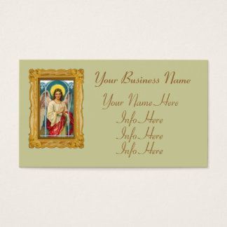 Angel With Pink Ribbon Triptych Business Card