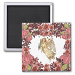 Angel With Pink Roses Heart 2 Inch Square Magnet