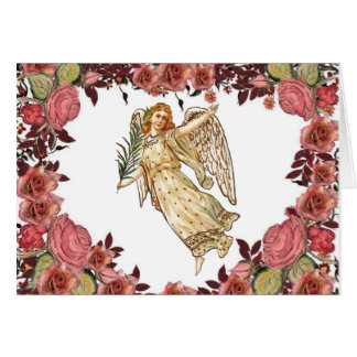 Angel With Pink Roses Heart Greeting Card