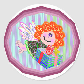 Angel with present round stickers
