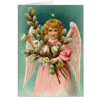 Angel With Pretty Pink Dress Greeting Card