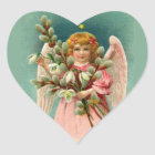 Angel With Pretty Pink Dress Heart Sticker